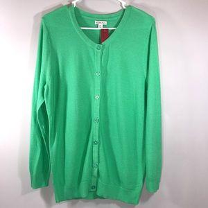 New Merona Women Green Knit Large Button Cardigan
